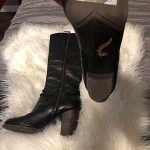 Black UGG Brand Heeled Boots